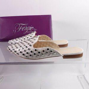 NEW Fergie Preston Leather Mule White/Silver Studs